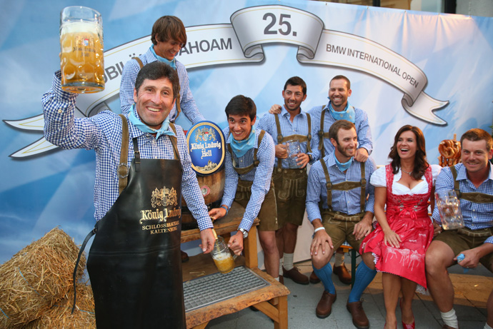 Cheers! From left to right: Olazabal, Thorbjon Olesen, Matteo Manasero, Pablo Larrazabal, Sergio Garcia, Johnson, former figure skater Katarina Witt and Henrik Stenson.