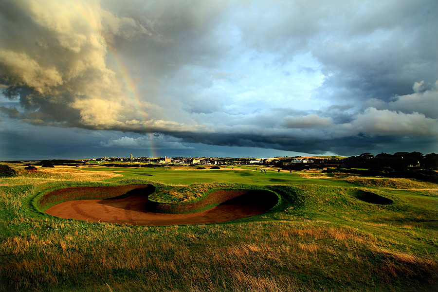 2. The Old Course at St. Andrews -- St. Andrews, Scotland                       If you treasure walking in famous footsteps, this is golf's ground zero. You can be excused if you're shaking in your shoes at the first tee; eventually the nerves steady a bit and you're out and about on a flattish, easy-to-walk parcel dotted with little ripples -- and with divots from centuries of Hall of Famers.