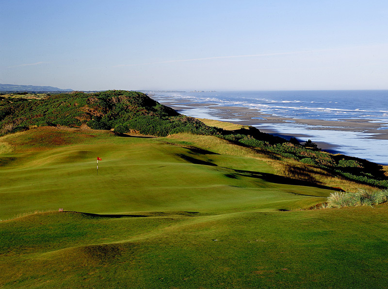 "Old Macdonald (No. 43 U.S./No. 74 World): Bandon Dunes Resort's fourth course might be its most distinctive — and its most fun. Architects Tom Doak and Jim Urbina managed to pay homage to pioneer American architect Charles Blair Macdonald and still build a one-of-a-kind seaside treat that is unlike nearly any course ever seen. Massively wide, rumpled fairways and putting surfaces that Doak labeled ""probably bigger than any set of greens anybody has built in 30 years"" still demand thoughtful placements and proper trajectories, as the crunchy turf and frenzied contours will funnel marginal shots in unexpected directions. Solving such puzzles is the enduring joy of Old Macdonald."