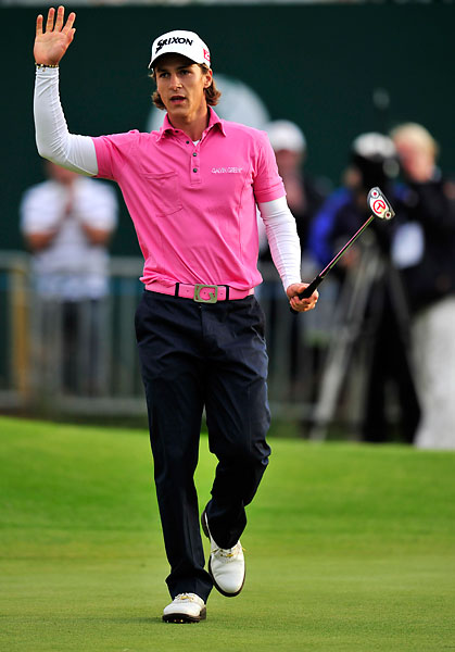 Pepto Bismal                           Danish golfer Thorbjorn Olesen made an exciting run at the leaders early in the Championship -- and he made a bit of a splash with his pink belt. Not something you see every day on Tour.