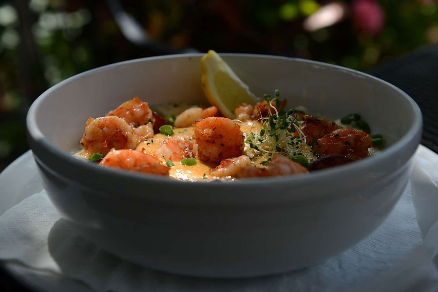 Homemade shrimp and grits at the Backyard Restaurant.