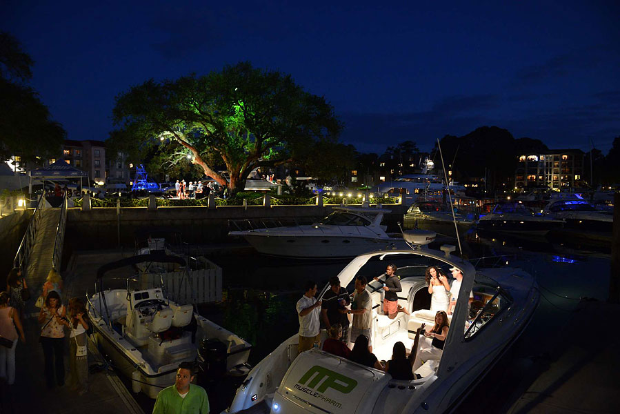 Live music can be heard throughout the marina.
