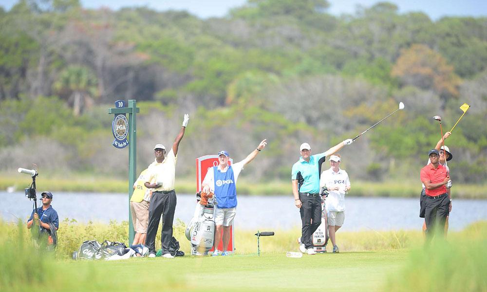 Woods struggled throughout the round on Sunday.