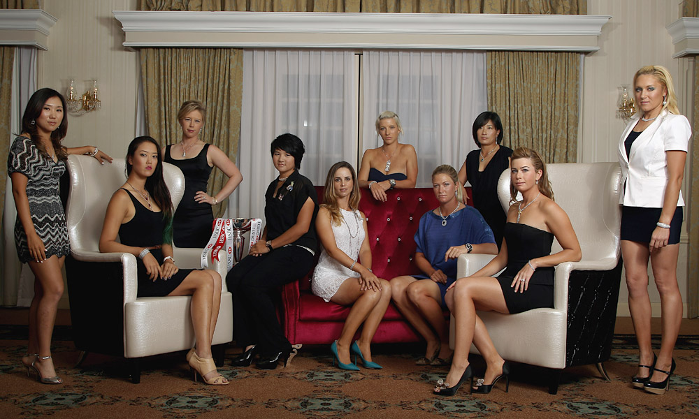 Several LPGA stars got glammed up for a promotional Tour photo shoot prior to the 2012 HSBC Women's Champions in Singapore. From Left: In Kyung Kim, Michelle Wie, Morgan Pressel, Yani Tseng, Beatriz Recari, Melissa Reid, Suzann Pettersen, Se Ri Pak, Paula Creamer and Natalie Gulbis.