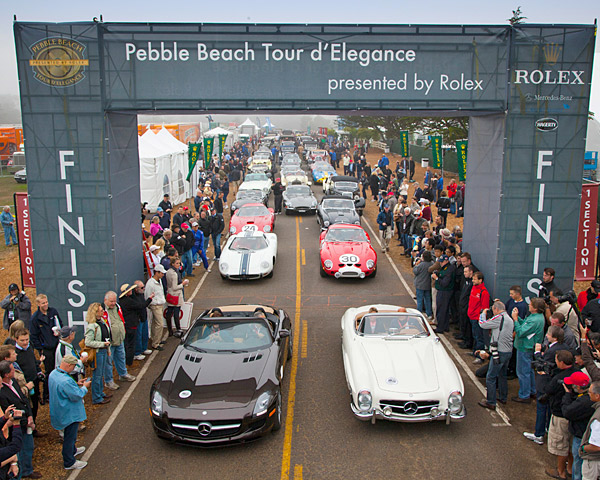 The starting gate for the Pebble Beach Tour d'Elegance, a scenic drive that traces portions of the original 17-Mile Drive.