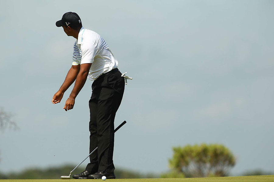 Woods started to fall apart on Saturday. He went out Sunday morning and finished his third round, a two-over 74.