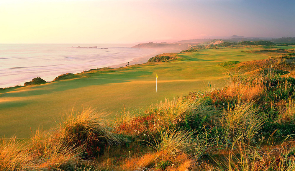 6. Pacific Dunes at Bandon Dunes Golf Resort -- Bandon, Ore.                       One of the wildest walks in golf when the wind gusts to 3- and 4-club velocities, it is nevertheless one of the most rewarding in the world. Massive sand dunes, 75-foot-high cliffs overlooking the Pacific and a walking-only policy makes Pac Dunes a fantasy come to life for both traditionalists and artists alike.