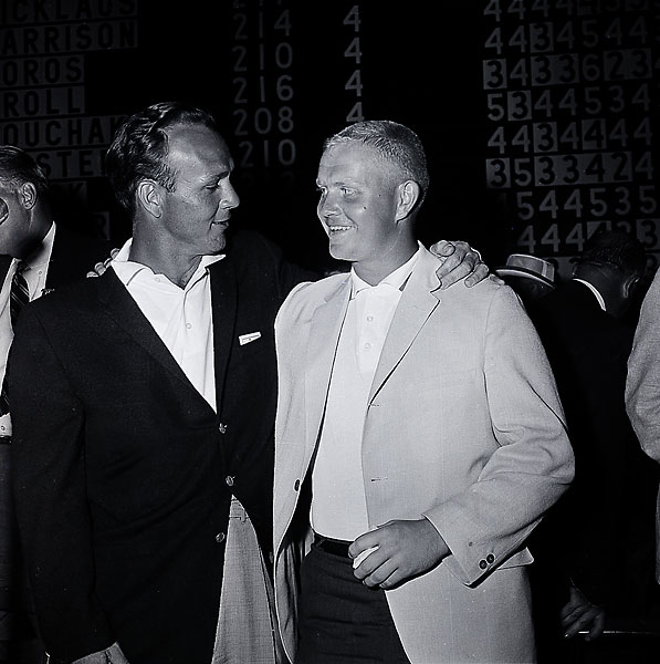 Still an amateur, Nicklaus finished second to Arnold Palmer at the 1960 U.S. Open at Cherry Hills.