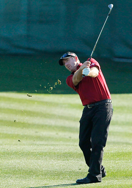 Rod Pampling, 42, was challenging for the lead all day at TPC Scottsdale. He finished at four under.