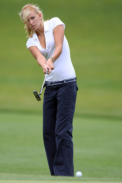 Gretzky had spent some time on the course before dating Johnson. Here, she played in the pro-am at the Nationwide Tour's 2008 Ford Wayne Gretzky Classic in Ontario.