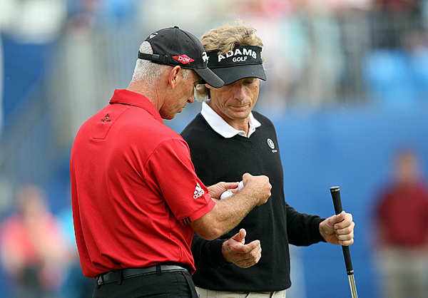Pavin and Langer were tied for the lead after Friday before Langer pulled away in the third round.