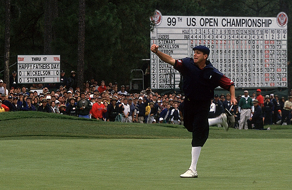 In the first U.S. Open at historic Pinehurst, Payne Stewart, Phil Mickelson and Tiger Woods staged an epic battle over the final nine holes. At the 445-yard par-4 18th, Stewart, leading Mickelson by one, laid up after driving into the right rough, then hit a nine-iron to 15 feet. Using a putting tip that his wife, Tracy, had given him on Saturday night, Stewart earned his second Open title by draining the par putt. Four months later Stewart would die in a plane crash. He was 42.