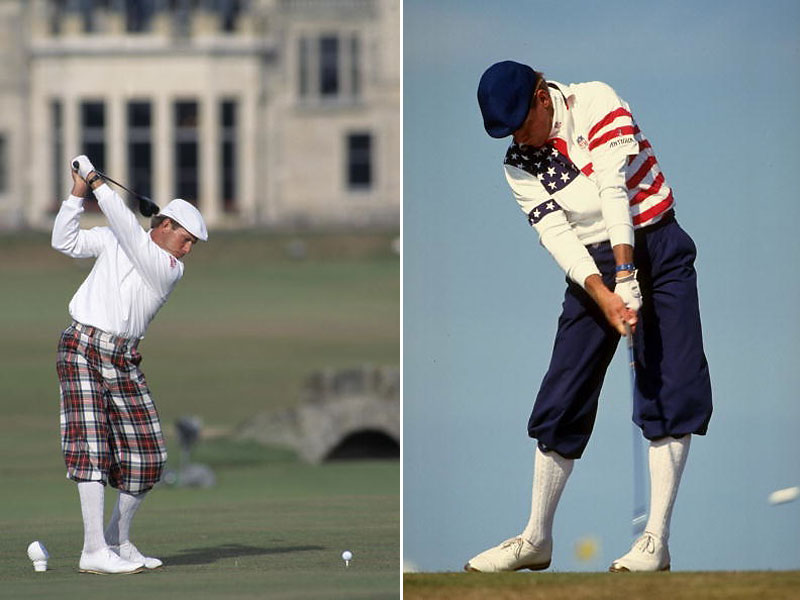 The late Payne Stewart was a kind of throwback to the early days of the Royal and Ancient, wearing custom tailored knickerbockers in traditional tartan patterns (left). He never won the British, but tied for second in 1990, when he wore an American-themed traditional outfit.