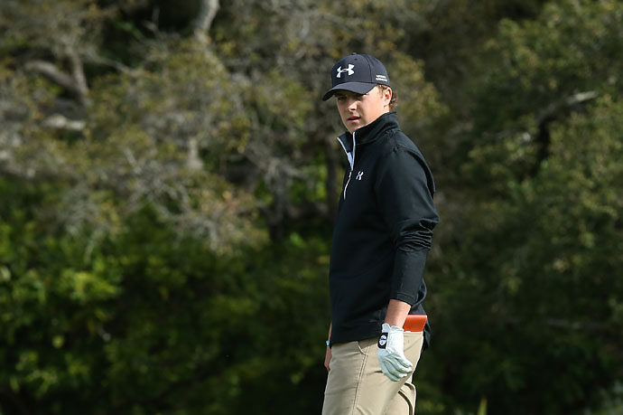 Jordan Spieth walks onto the green on the first hole during the third round of the AT&T Pebble Beach National Pro-Am at the Pebble Beach Golf Links on Saturday.