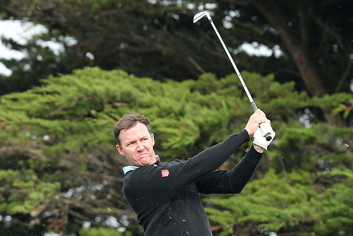Jimmy Walker hits a tee shot on the tenth hole during the third round of the AT&T Pebble Beach National Pro-Am at the Monterey Peninsula Country Club on Saturday.