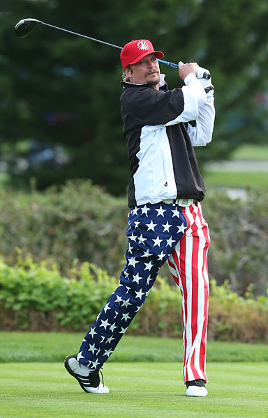 Musician Kid Rock hits a tee shot on the third hole during the third round of the AT&T Pebble Beach National Pro-Am at the Pebble Beach Golf Links on Saturday.