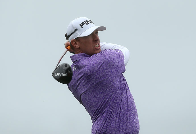 Hunter Mahan hits a tee shot on the eighth hole during the third round of the AT&T Pebble Beach National Pro-Am at the Monterey Peninsula Country Club on Saturday.