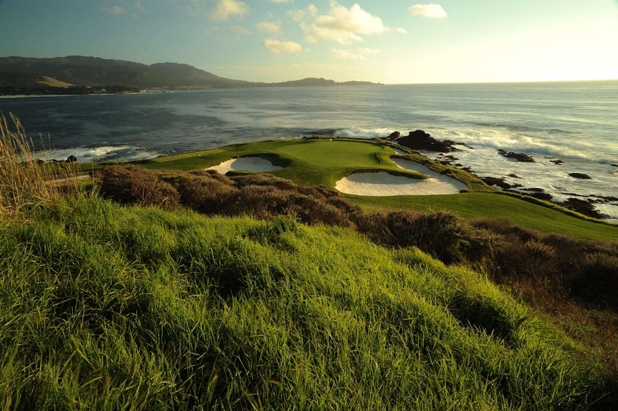 Pebble Beach Golf Links -- Pebble Beach, Calif. -- No. 7: Par 3, 106 yards                       Without question, the 8th hole offers the greatest second shot in golf -- provided you've hit it far enough off the tee to see your target -- and the walk up 18 must be done at least once in your life. However, the hole that best encapsulates Pebble's visual glory is the tiny par-3 7th, stuck out on a tiny spit of land and framed brilliantly by sand and ocean.