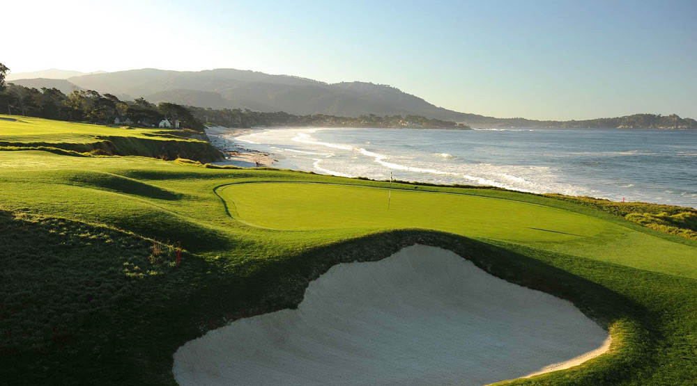3. Pebble Beach Golf Links -- Pebble Beach, Calif.                       The first tee is waaaaay old school -- right in front of the pro shop, where everybody can see your nervous first swing -- but after that, you'll settle into a groove, walking the greatest stretch of cliff-top golf in the game from holes 6 through 10, then returning to the Pacific at round's end. A cartpath-only policy and a classic routing further encourage walkers and the superb caddies top it off.