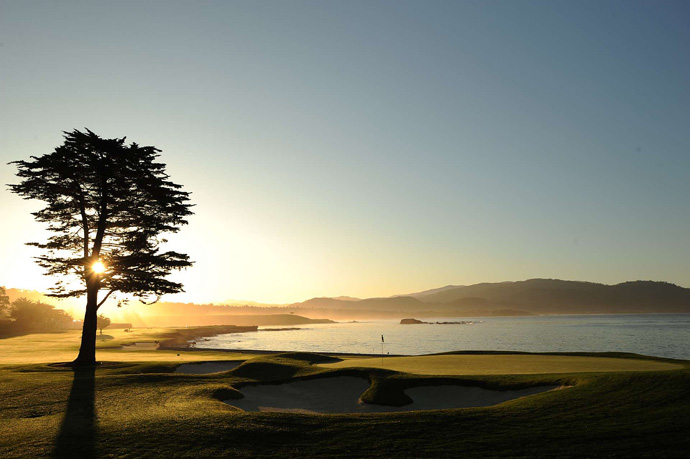 Pebble Beach -- Par 5, 543 yards                           One of the world's most photogenic holes, Pebble's famous finisher stretches along the ocean like a swimsuit model, the fierceness of its challenge softened by its sexy measurements and curves. Seems like the stuff of fantasy, and yet, for a price, you're free to approach it, which is more than you can say for most centerfolds.