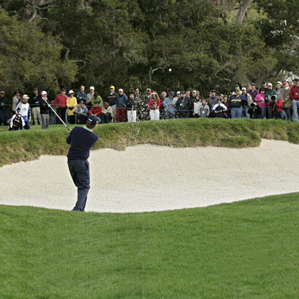 Davis Love III played out of the sand during the fourth round. He finished tied for fourth.