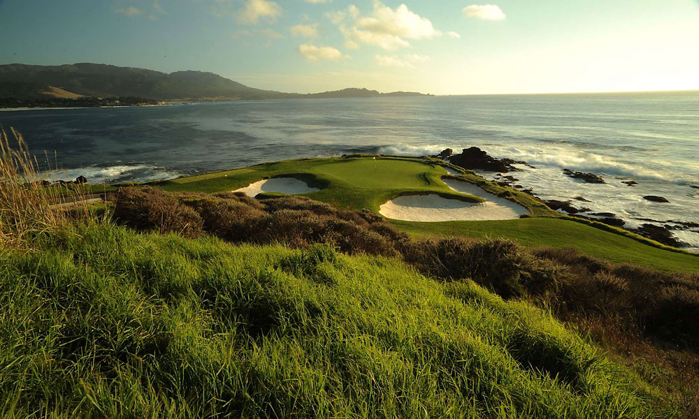 2. Pebble Beach Resorts, Pebble Beach, CA; 800-654-9300, pebblebeach.com                           Say what you will about the Pebble Beach price tag -- somewhere north of five Franklins these days -- but as once-in-a-lifetime experiences go, the cost is irrelevant. It's all worth it for one magical round at this seaside gem that's played host to five U.S. Opens and millions of memories. No more thrilling, spectacular stretch of holes exists anywhere than holes 7 through 10. They might be worth $100 bucks apiece. Pebble's siblings suffer by comparison, but there's no better opening five holes in public golf than at Spyglass Hill and at Spanish Bay, the low-profile holes along the Pacific meld seamlessly with the forested tests. The capper is a single malt scotch at sunset, accompanied by a bagpiper. Good for what ails ya.