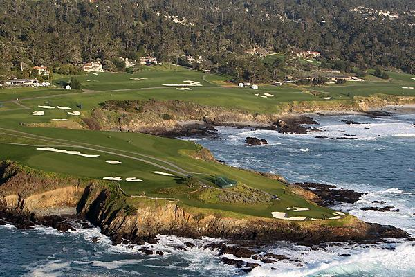 Pebble Beach                           This view shows the treacherous stretch of holes 8, 9, and 10. These holes, all par-4s, have come to be known in some circles as the Cliffs of Doom — and for good reason. Many believe it is the hardest (not to mention the most beautiful) stretch of par-4s in the world.