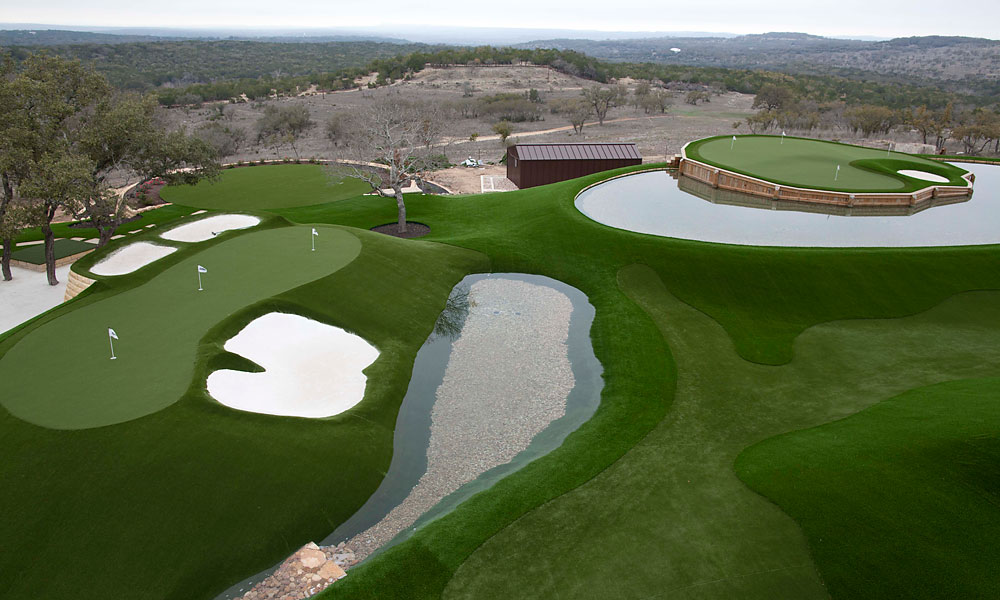 Pelz's tribute to Augusta National's devilish par-3 12th, left, in the foreground, has all the fixings, including alabaster bunkers and a knockoff of Rae's Creek.