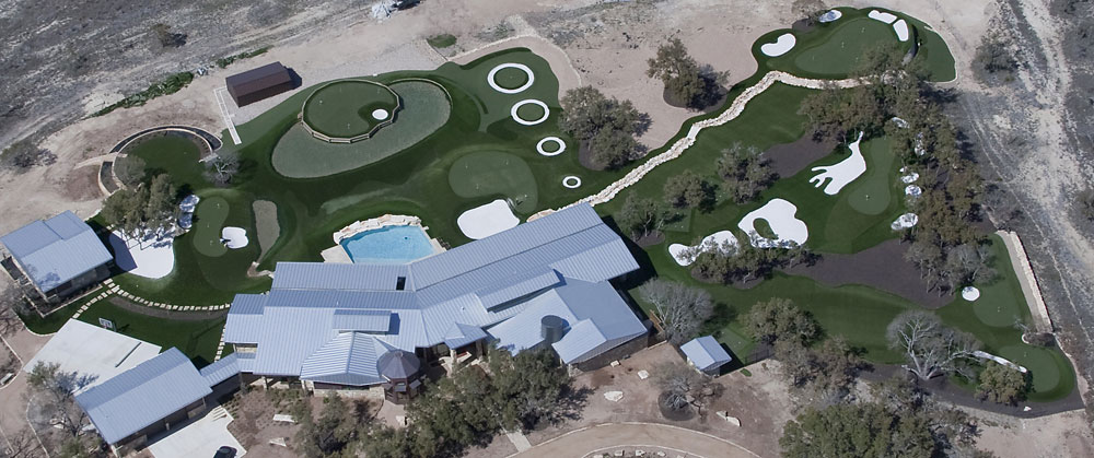 A birds-eye view of Pelz's backyard greens, which replicate those found at such famous courses as Augusta National and TPC Sawgrass.