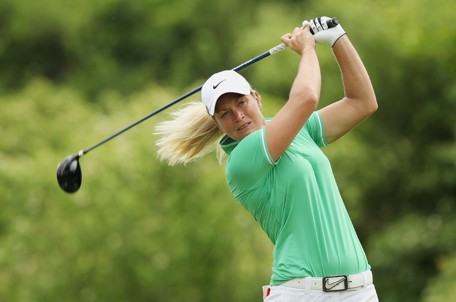 Suzann Pettersen rebounded from an early double bogey to shoot a 71.