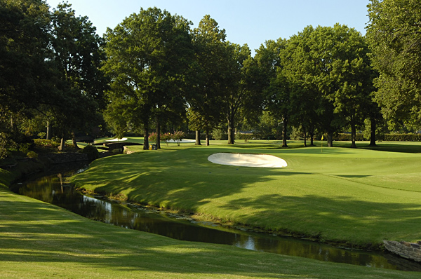 No. 2                        488 Yards, Par 4                       The drive on the 2nd hole requires a 260-yard carry over cross bunkers and a creek. Even from the fairway, players will need a mid- or long-iron second shot to hit the green, which slopes from back to front and is guarded by a large bunker on the left and a small bunker in the rear.