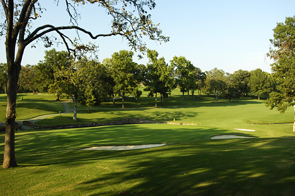 No. 12                        458 Yards, Par 4                       A slight dogleg left, the 12th fairway slopes from right to left, and players cannot see the landing area from the tee box. The second shot is very similar to the second shot on the famous par-5 13th hole at Augusta National, with a creek running in front of the green and bunkers strategically placed to capture any shots that stray. The hole can be birdied, but big numbers are quite possible.