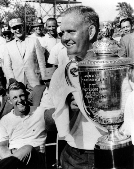 1963 — TOO HOT TO HANDLE                                                      Dallas Athletic Club,                           Dallas, Texas                           Winner: Jack Nicklaus                                                      The Golden Bear touched down in sweltering Dallas dog-tired from his British Open voyage, but like a true champion he rallied and brought home the win, defeating Dave Ragan by two strokes. But winning his first of five PGA titles proved too hot to handle: the blazing Texas sun made the Wanamaker Trophy so burning to the touch that Nicklaus needed a towel to hold it.
