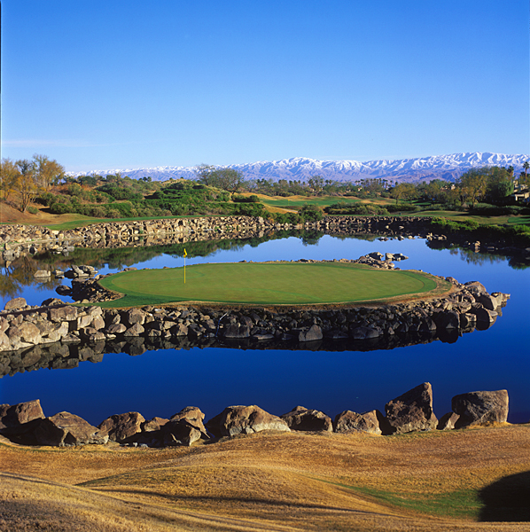 PGA West (TPC Stadium); La Quinta, Calif.; No. 17, 168 yards                           Pete Dye was skeptical about replicating his Sawgrass island green in the desert, but colleagues, the developers and Deane Beman convinced him otherwise. Backdropped by mountains, the hole differs from its Florida cousin in that it's lined with rocks, rather than railroad ties, it's longer by 30 yards and its green is significantly larger.