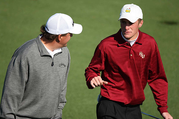 Phil Mickelson took to the course early on Tuesday with amateur Drew Kittleson.