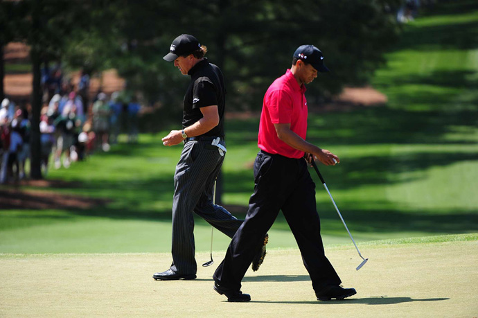 Mickelson and Woods were paired together during the final round of the 2009 Masters. Mickelson (67) beat Woods by one to finish in fifth place.