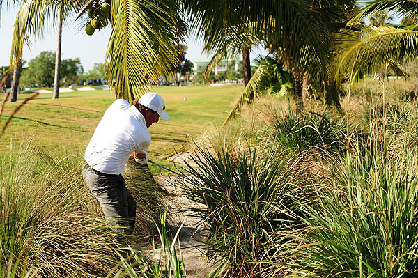 Mickelson found himself in the trees on the 12th and went on to bogey the par-5 hole.