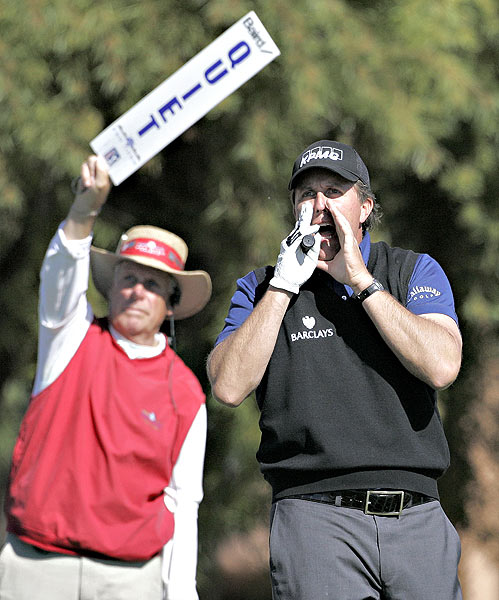 "Mickelson yelled ""Fore!"" on the fifth tee after his shot went awry. He parred the hole."
