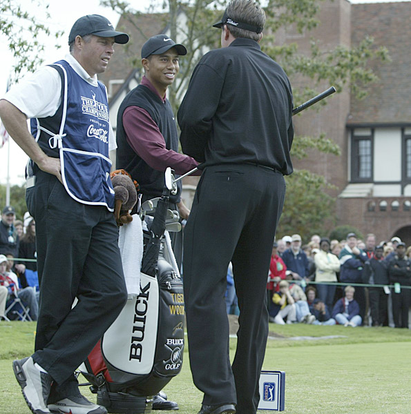 "5. 2002 East Lake Golf Club, Atlanta                           Purse: $5 mil. Winner's share: $900,000                           Winner: Vijay Singh (-12)                                                      Humorous moments between Woods and Mickelson have been rare, but they couldn't help but laugh on the 1st tee as they were about to play the opening round in 2002. As is the custom, the tee announcer ticked off the players' accomplishments that season. As he went through Tiger's list—the Masters and the U.S. Open among them—Mickelson interrupted by saying, ""All right, all right!"" Mickelson, Woods and the crowd broke into laughter. Mickelson shot 70 that day to edge Woods by a shot, but both players finished far behind Singh."