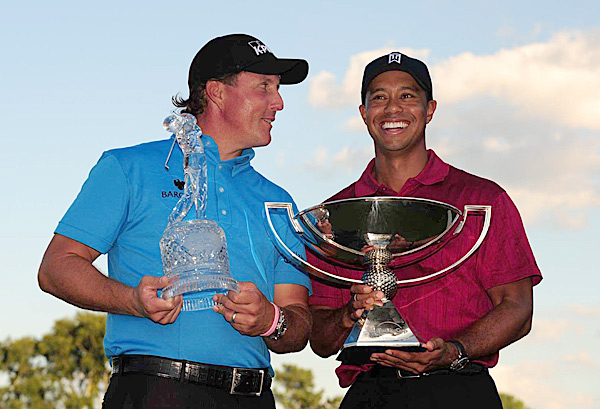 "9. 2009 East Lake Golf Club  Atlanta                           Purse: $7.5 mil.  Winner's share: $1.35 mil.                           Winner: Phil Mickelson (-9)                                                                                 Woods entered the final round in second, two shots behind Kenny Perry and two ahead of Mickelson. Mickelson seized control with a four-under 31 on the front and won by three. Elated with his first victory since his wife, Amy, and mother, Mary, had been diagnosed with breast cancer, he said: ""It means a lot to finish the year off on such a good note."" Woods didn't seem as interested in the $10 million FedEx Cup bonus as he was in the victory that had eluded him. ""I'm sure I will probably be more happy tomorrow than I am right now,"" he said."