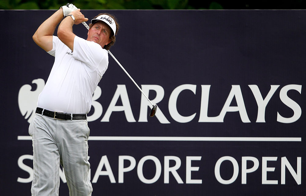 Phil Mickelson has six holes left, but he is in danger of missing the cut.