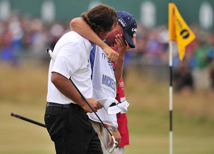 Phil Mickelson with an emotional Bones Mackay after winning the 2013 British Open.