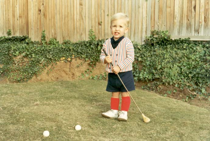 A young Phil Mickelson hits balls in his San Diego backyard.