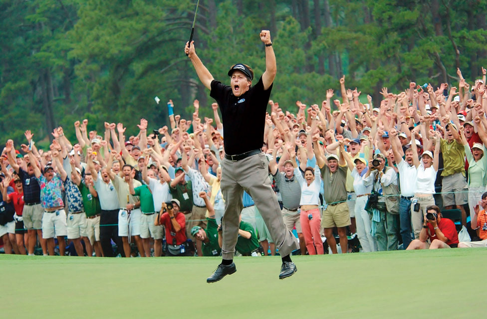 Finally, after seven top-10 finishes at Augusta, Mickelson broke through for his major title at the 2004 Masters. Mickelson holed an 18-foot birdie putt on 18 to edge Ernie Els by one stroke.