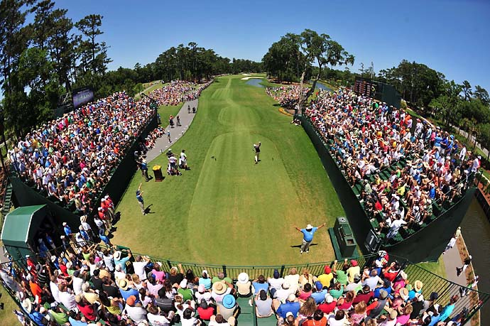 Phil Mickelson on the first tee at TPC Sawgrass on Sunday at the 2010 Players Championship.