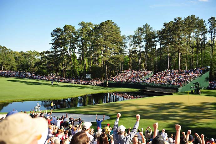 Phil Mickelson nearly missing eagle on 15th hole Saturday at the 2010 Masters. The Augusta crowds have embraced Mickelson during his three wins there.