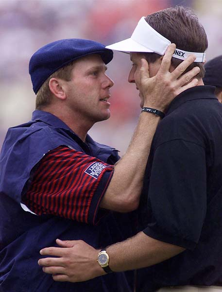 Payne Stewart hugs Phil Mickelson at 1999 U.S. Open in Pinehurst. Mickelson lost this Open by one stroke, the first of his record six runner-up finishes at the U.S. Open.