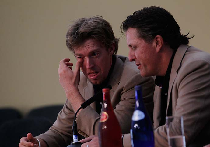 Phil Mickelson comforts a sobbing Hunter Mahan after the United States lost the 2010 Ryder Cup in Wales.