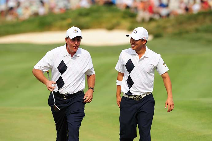 Anthony Kim and Phil Mickelson in Friday fourballs at the 2008 Ryder Cup at Valhalla in Kentucky.