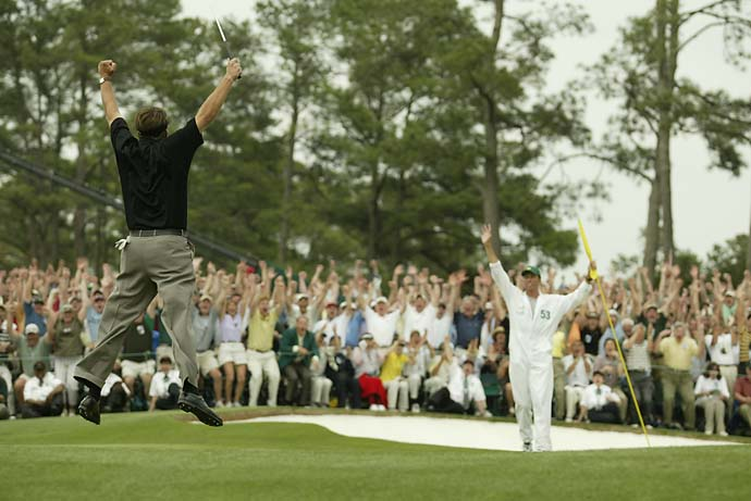 Phil Mickelson has always claimed that the more famous front-on shot of his 2004 Masters victory leap caught him coming down and therefore makes it look like he can't jump. Maybe he has a point.